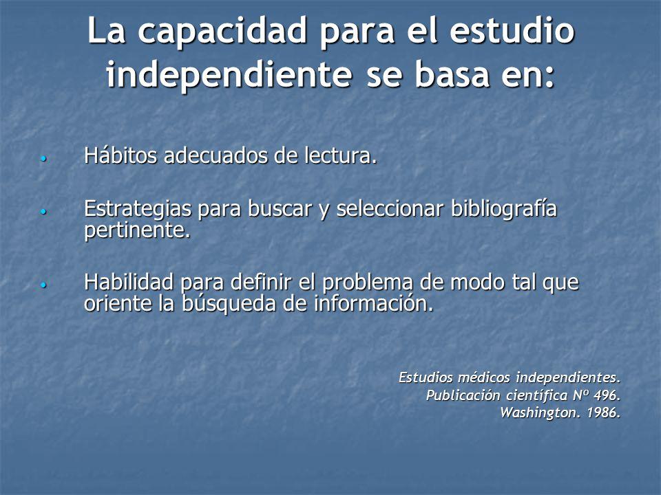 La capacidad para el estudio independiente se basa en:
