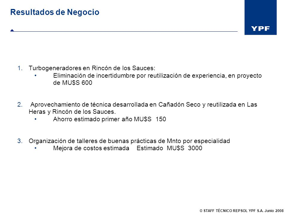 Resultados de Negocio Turbogeneradores en Rincón de los Sauces: