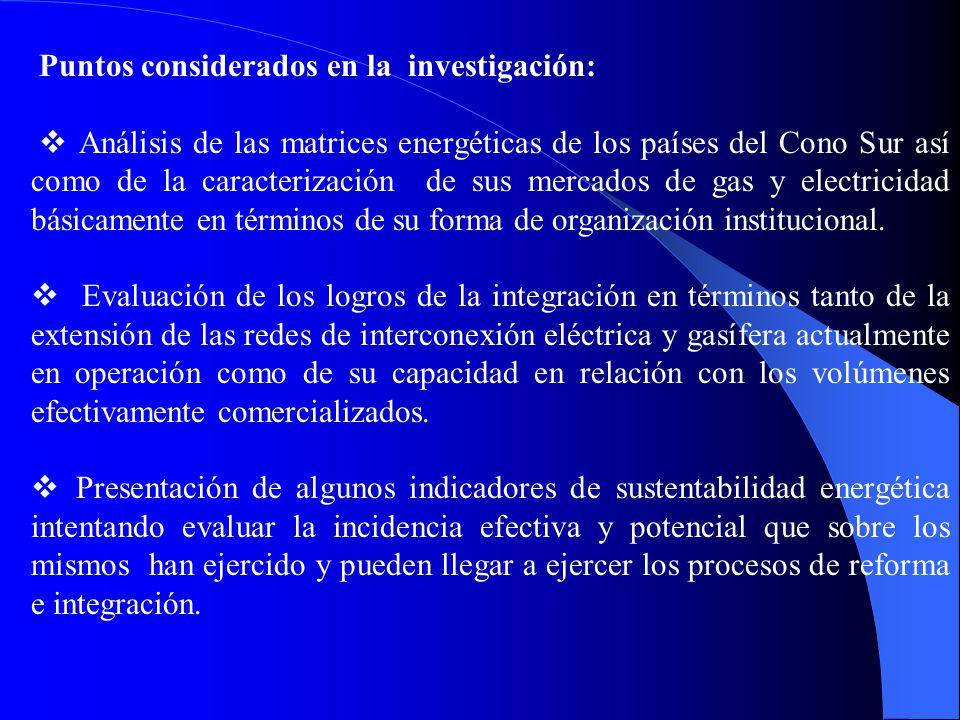 Puntos considerados en la investigación: