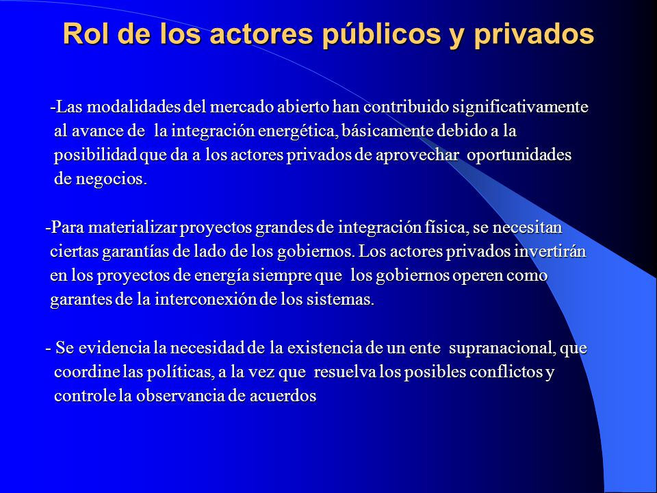 Rol de los actores públicos y privados
