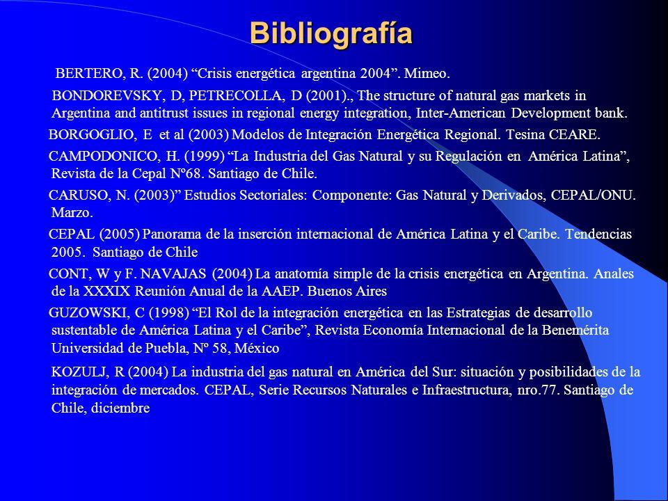 Bibliografía BERTERO, R. (2004) Crisis energética argentina 2004 . Mimeo.