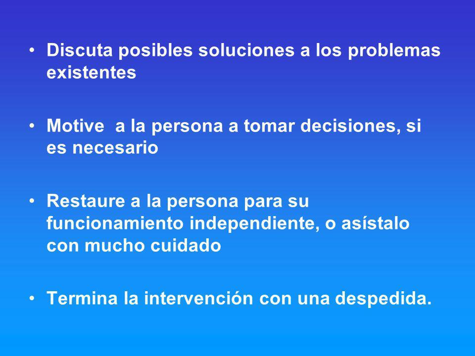 Discuta posibles soluciones a los problemas existentes
