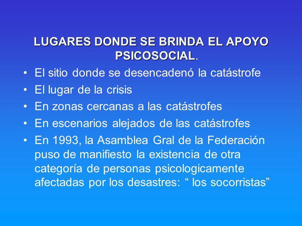 LUGARES DONDE SE BRINDA EL APOYO PSICOSOCIAL.