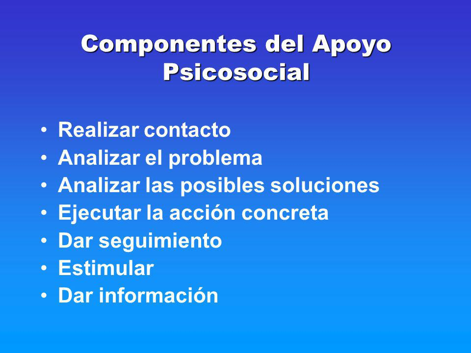 Componentes del Apoyo Psicosocial