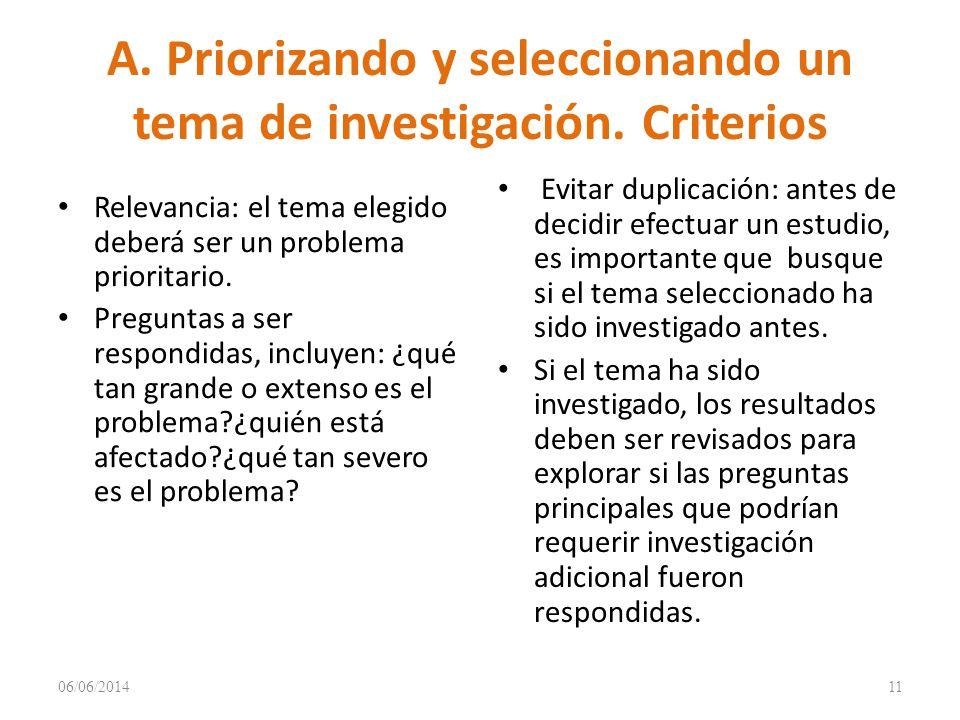 A. Priorizando y seleccionando un tema de investigación. Criterios