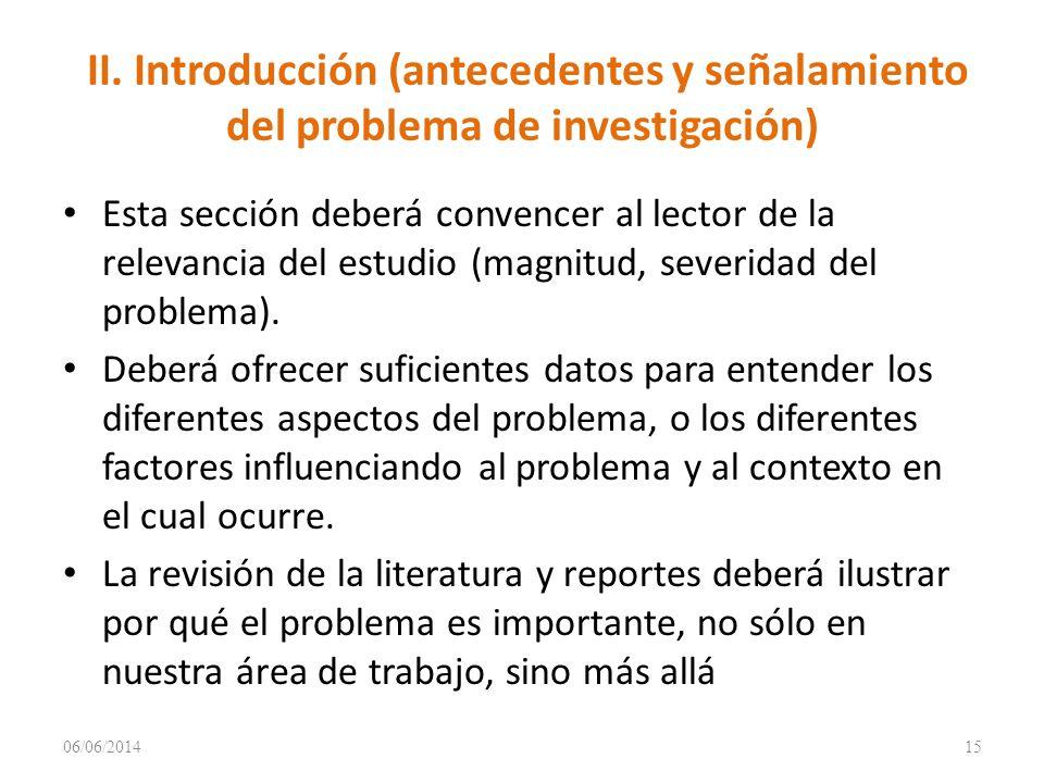 II. Introducción (antecedentes y señalamiento del problema de investigación)
