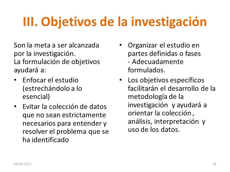 III. Objetivos de la investigación
