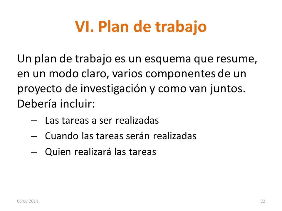 VI. Plan de trabajo