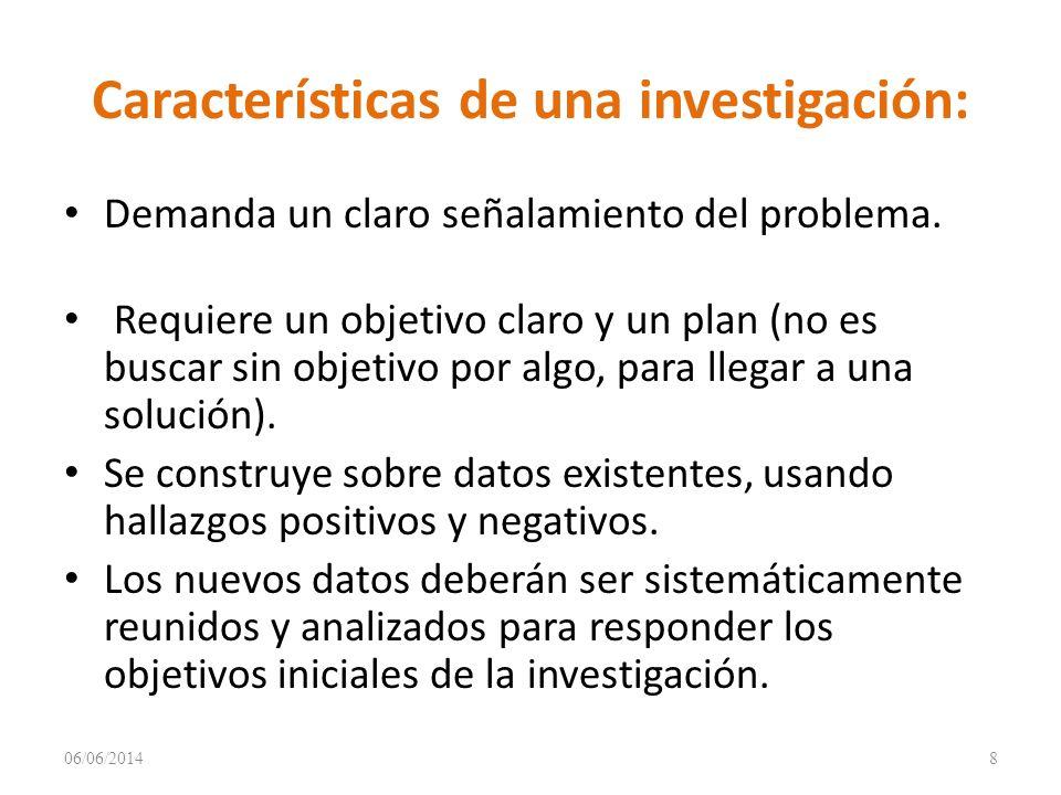 Características de una investigación: