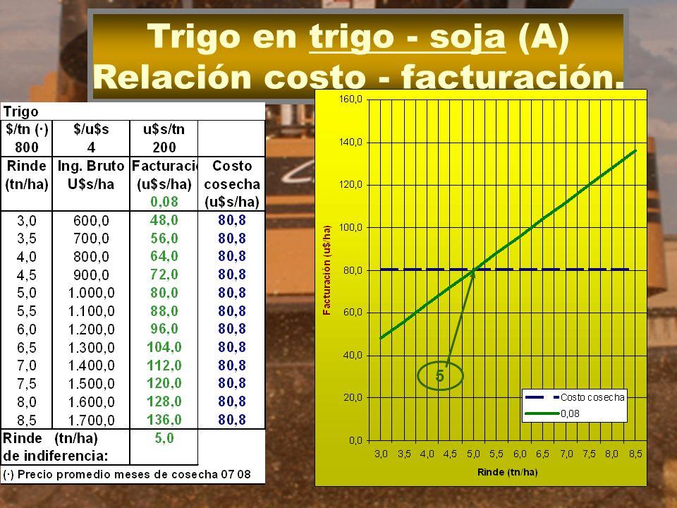 Trigo en trigo - soja (A) Relación costo - facturación.
