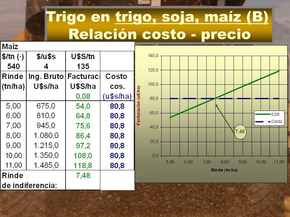 Trigo en trigo, soja, maíz (B) Relación costo - precio