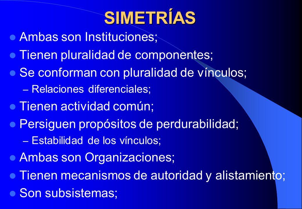 SIMETRÍAS Ambas son Instituciones; Tienen pluralidad de componentes;
