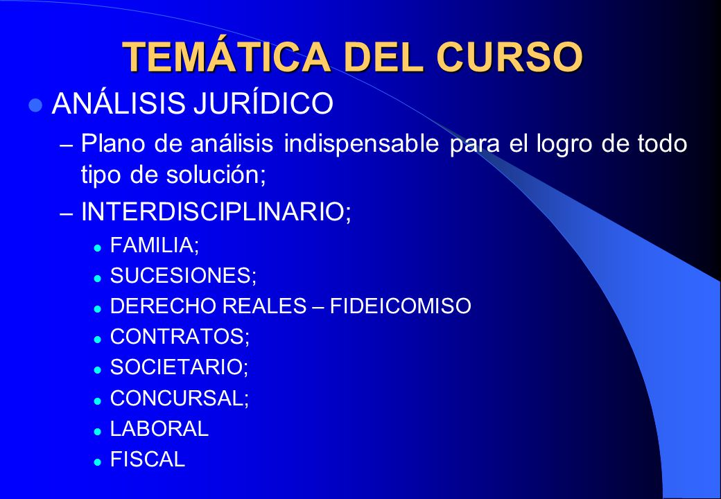 TEMÁTICA DEL CURSO ANÁLISIS JURÍDICO