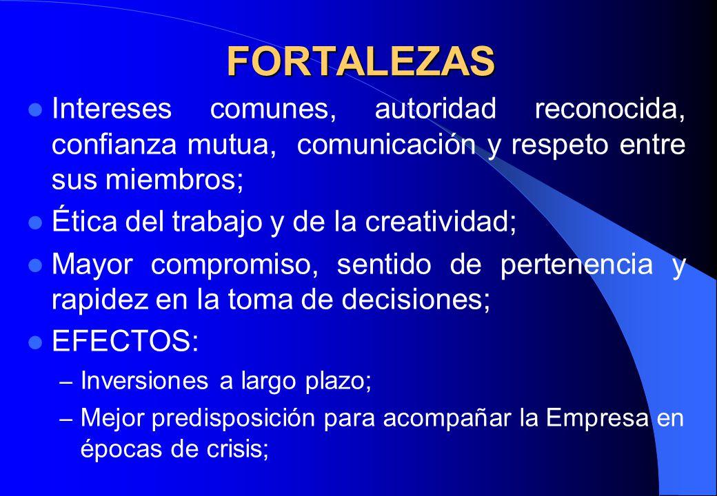 FORTALEZAS Intereses comunes, autoridad reconocida, confianza mutua, comunicación y respeto entre sus miembros;