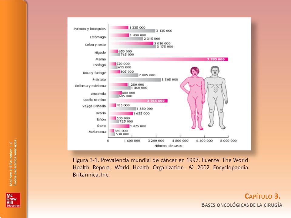 Figura 3-1. Prevalencia mundial de cáncer en 1997