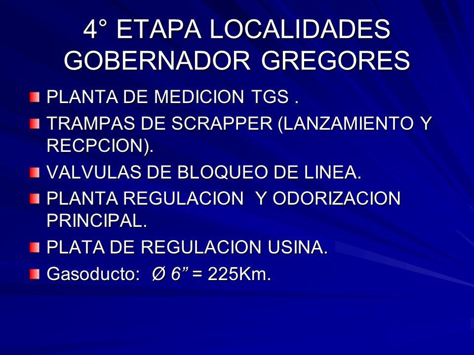4° ETAPA LOCALIDADES GOBERNADOR GREGORES