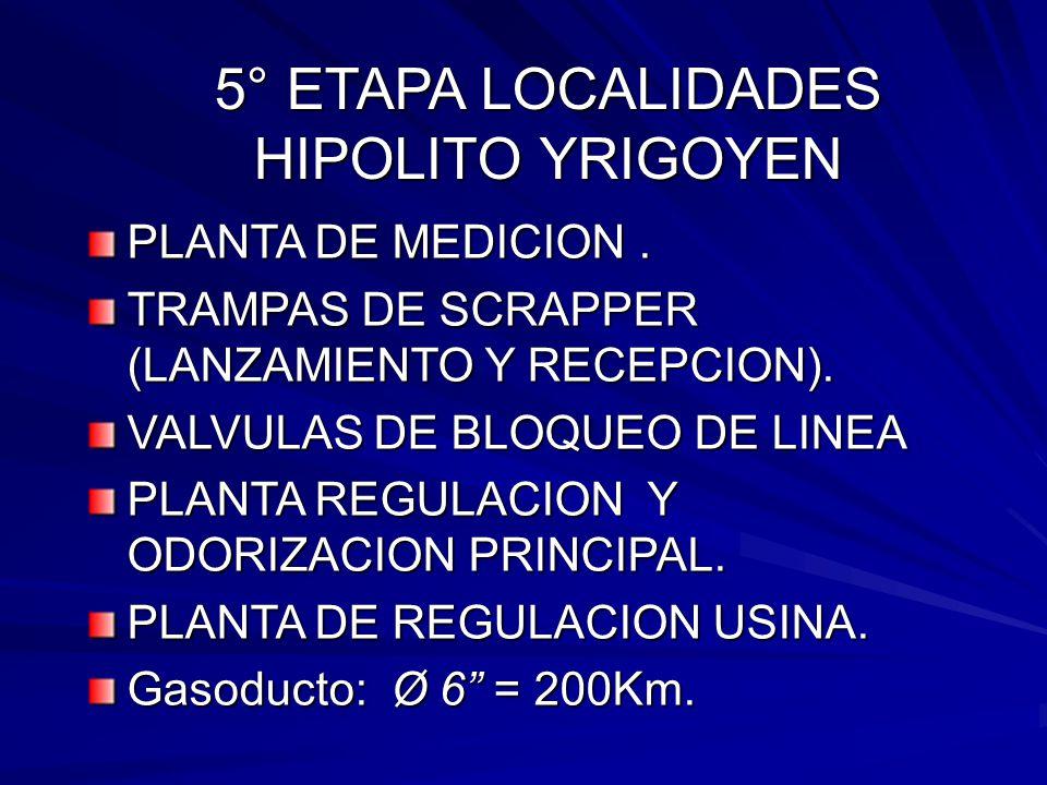 5° ETAPA LOCALIDADES HIPOLITO YRIGOYEN