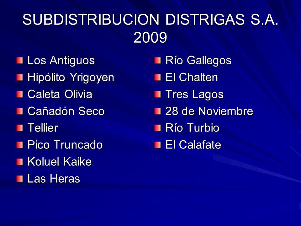 SUBDISTRIBUCION DISTRIGAS S.A. 2009
