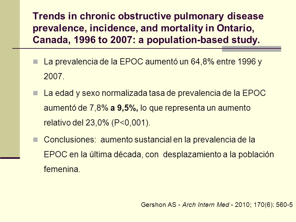 Trends in chronic obstructive pulmonary disease prevalence, incidence, and mortality in Ontario, Canada, 1996 to 2007: a population-based study.