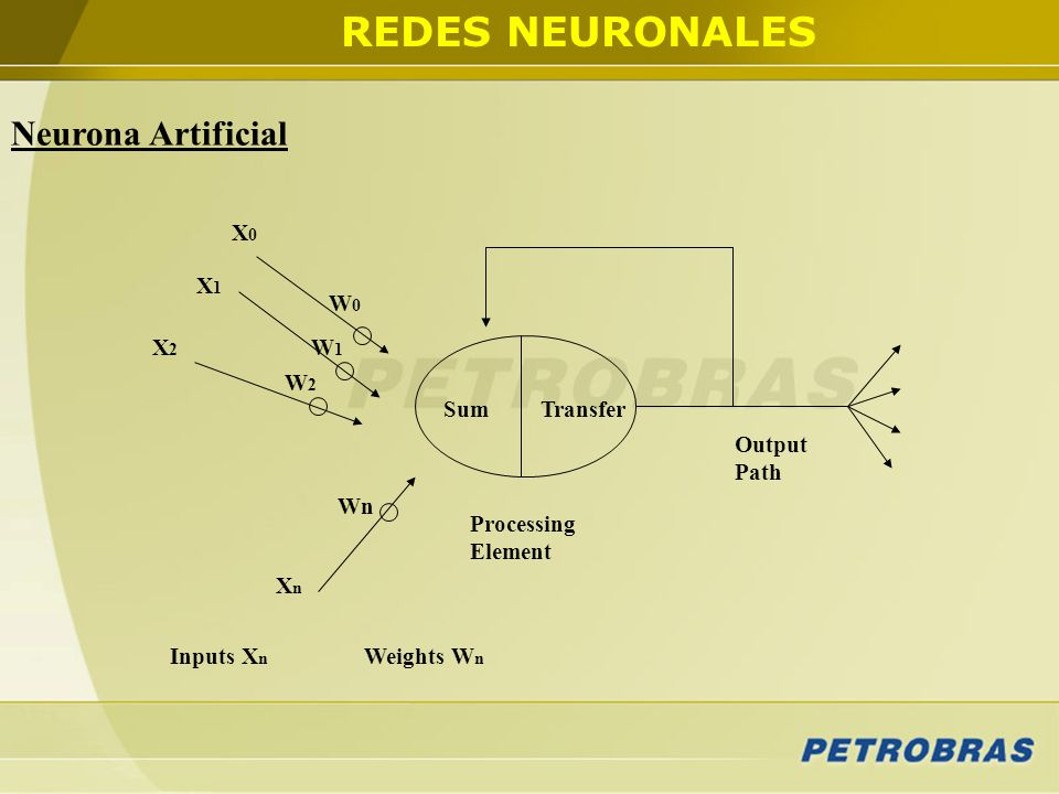 REDES NEURONALES Neurona Artificial X0 X1 W0 X2 W1 W2 Sum Transfer