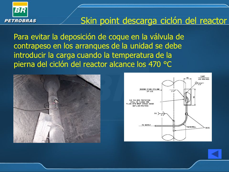 Skin point descarga ciclón del reactor