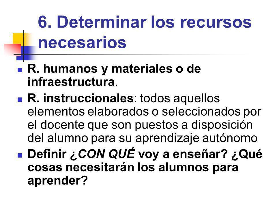 6. Determinar los recursos necesarios