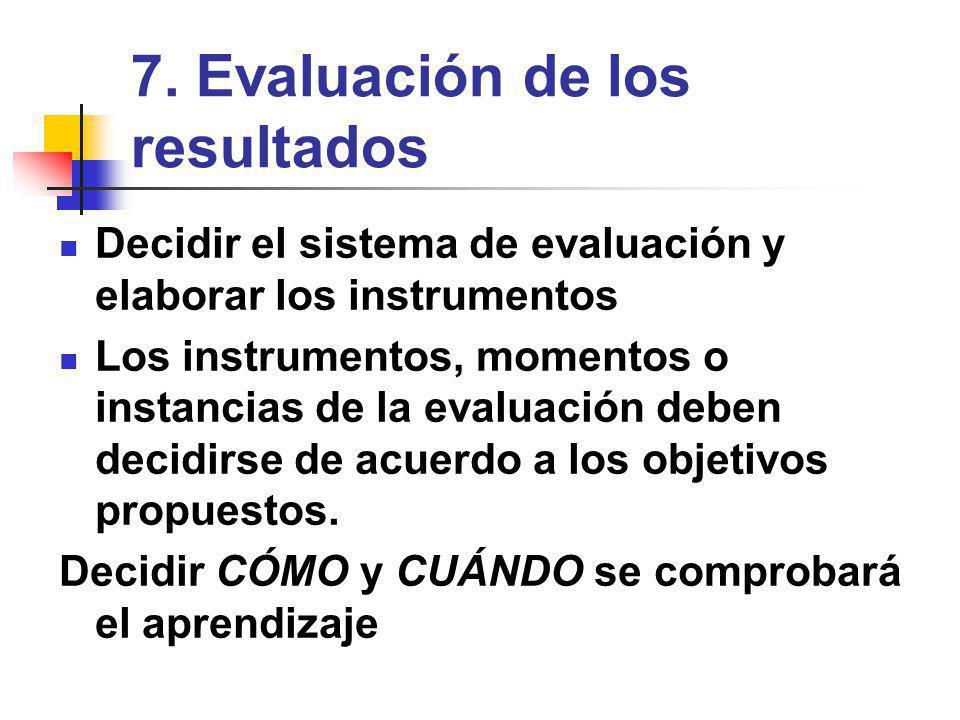 7. Evaluación de los resultados