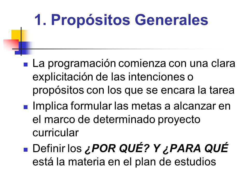 1. Propósitos Generales La programación comienza con una clara explicitación de las intenciones o propósitos con los que se encara la tarea.
