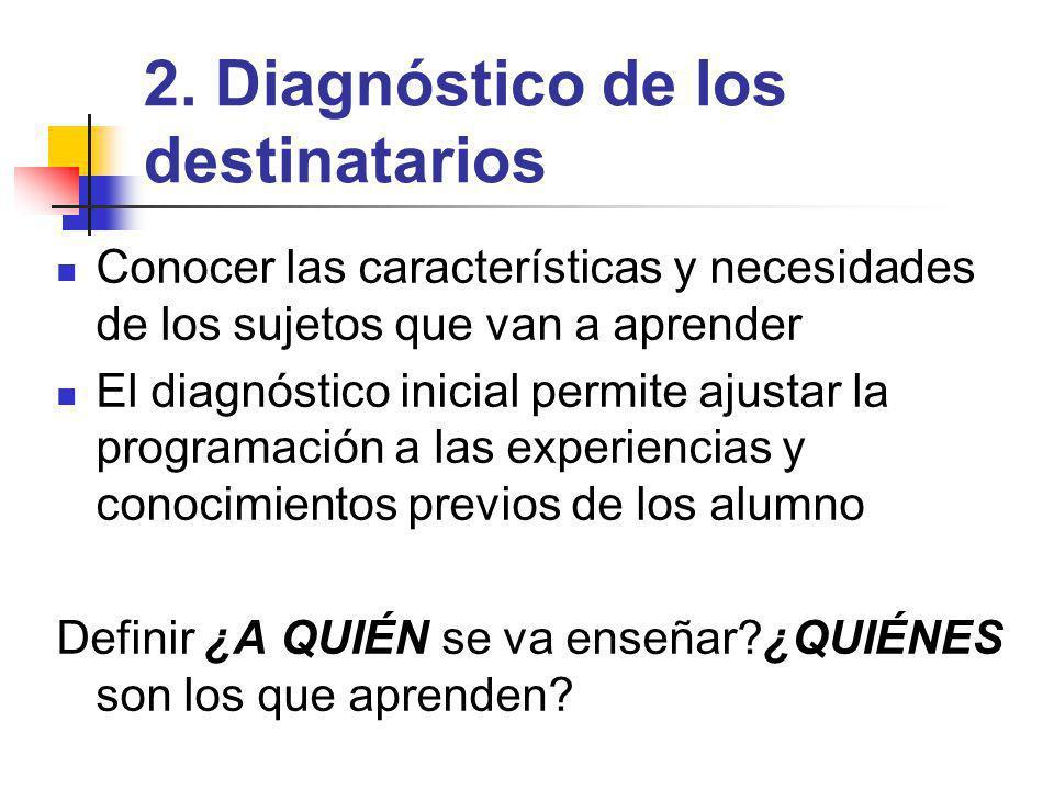 2. Diagnóstico de los destinatarios
