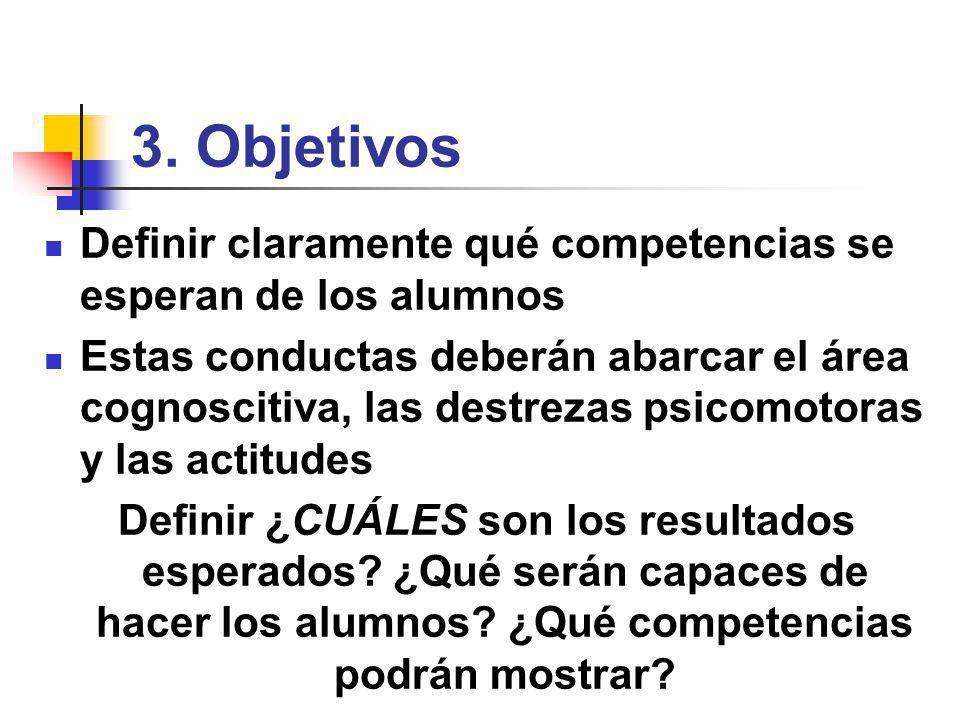 3. Objetivos Definir claramente qué competencias se esperan de los alumnos.