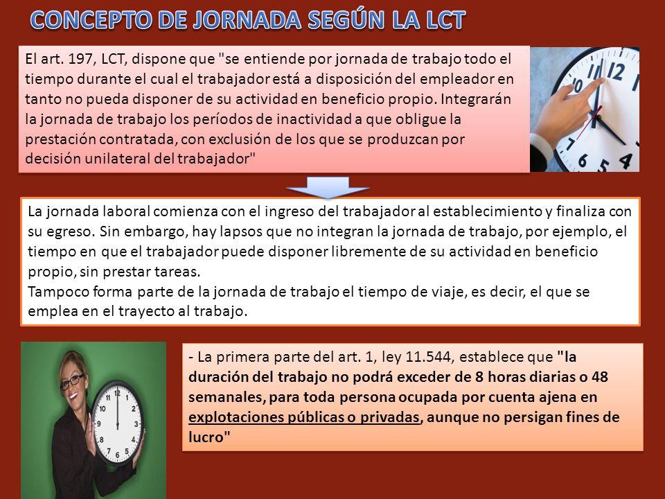 CONCEPTO DE JORNADA SEGÚN LA LCT