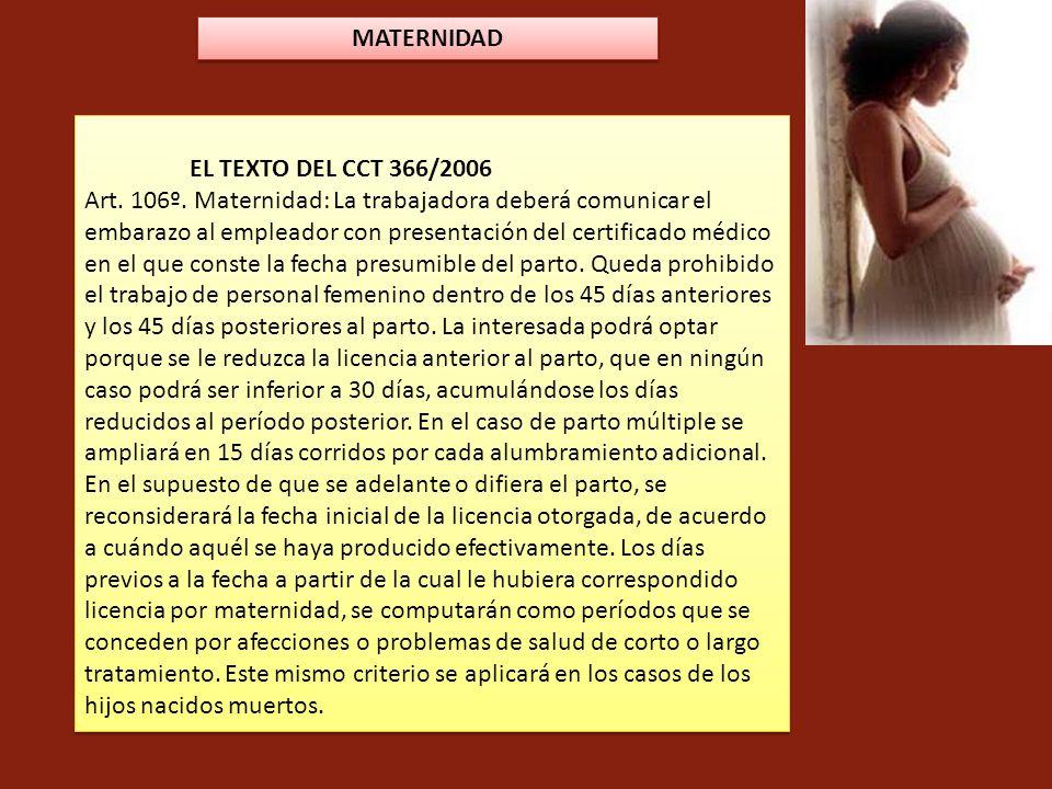 MATERNIDAD EL TEXTO DEL CCT 366/2006.