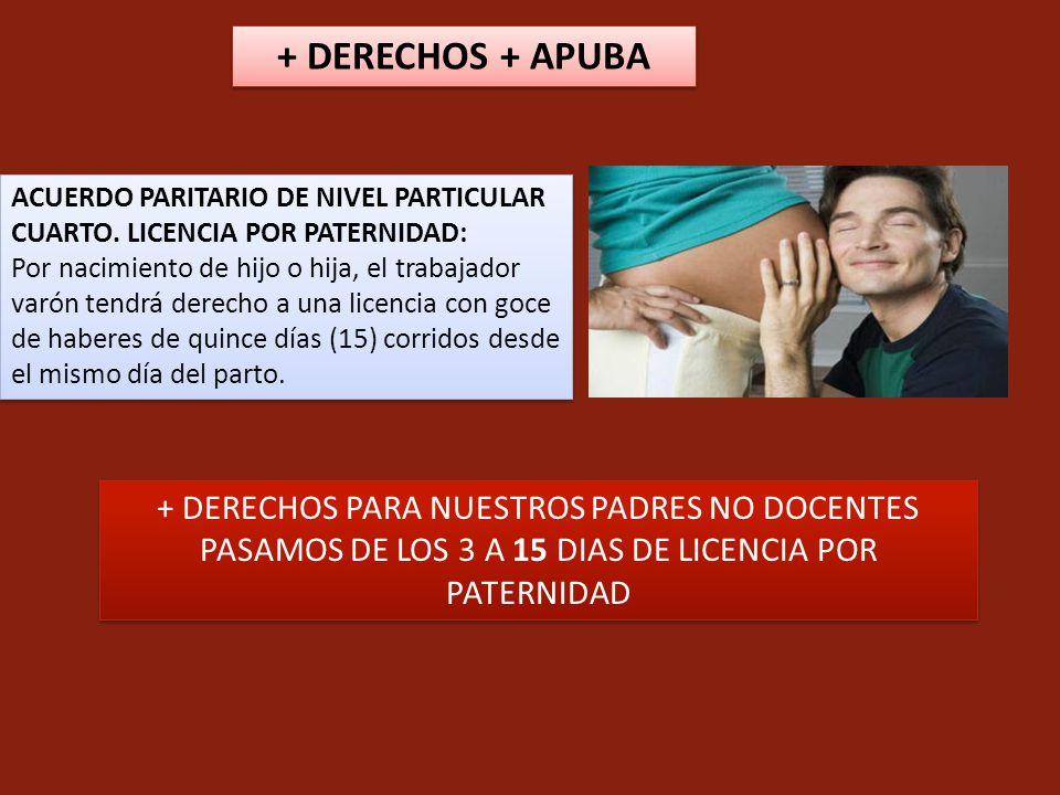 + DERECHOS + APUBA + DERECHOS PARA NUESTROS PADRES NO DOCENTES