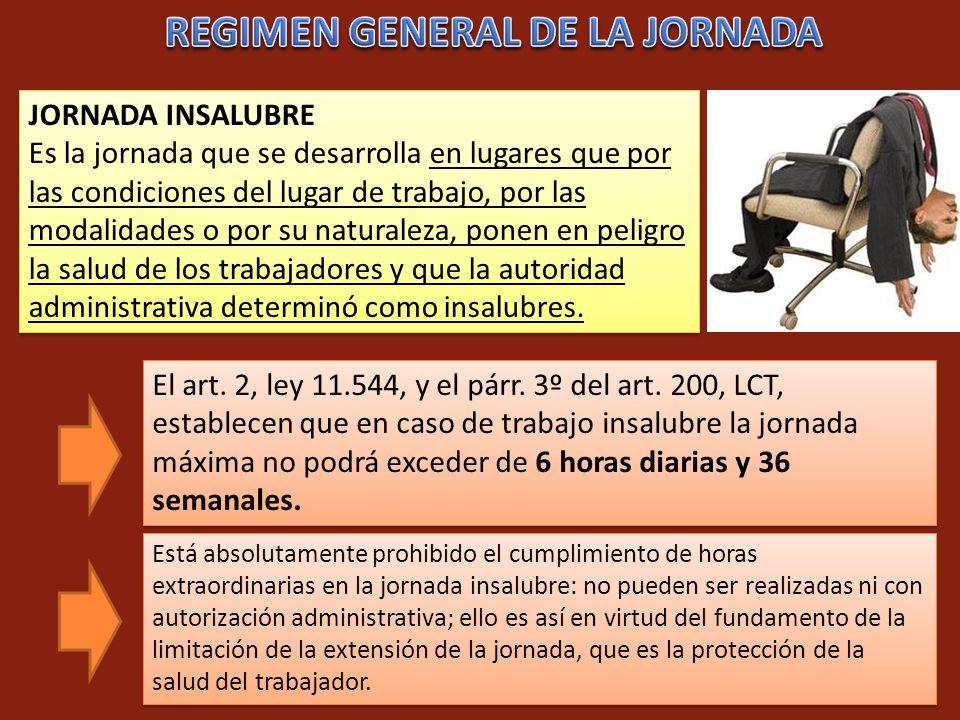 REGIMEN GENERAL DE LA JORNADA