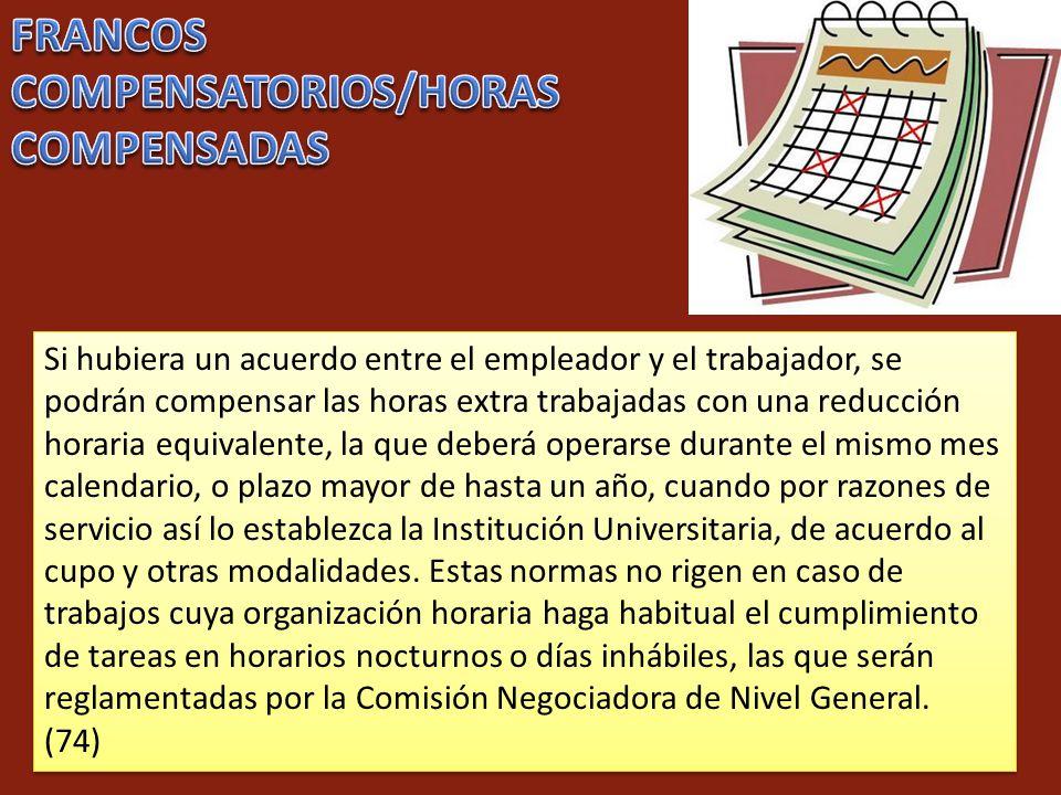 FRANCOS COMPENSATORIOS/HORAS COMPENSADAS