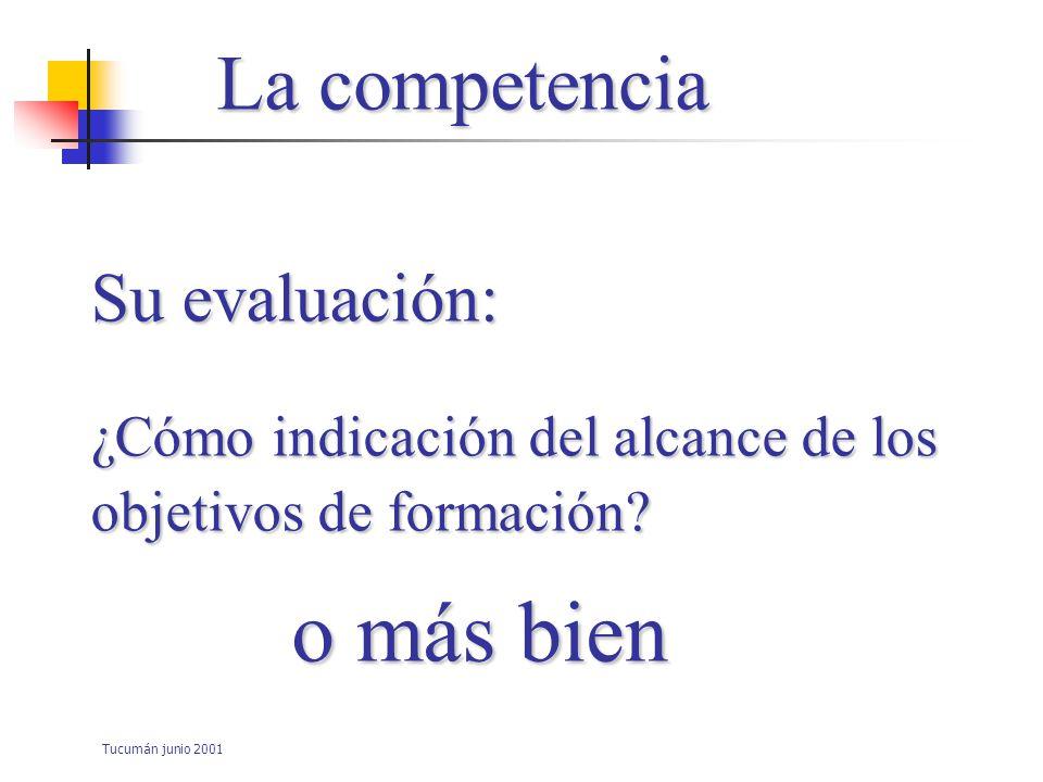 o más bien La competencia Su evaluación: