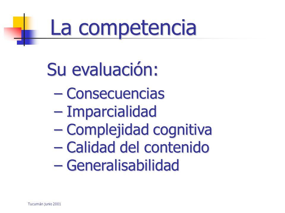 La competencia Su evaluación: Consecuencias Imparcialidad
