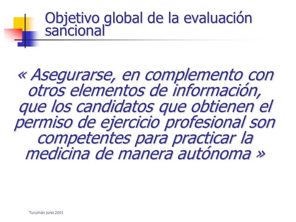 Objetivo global de la evaluación sancional