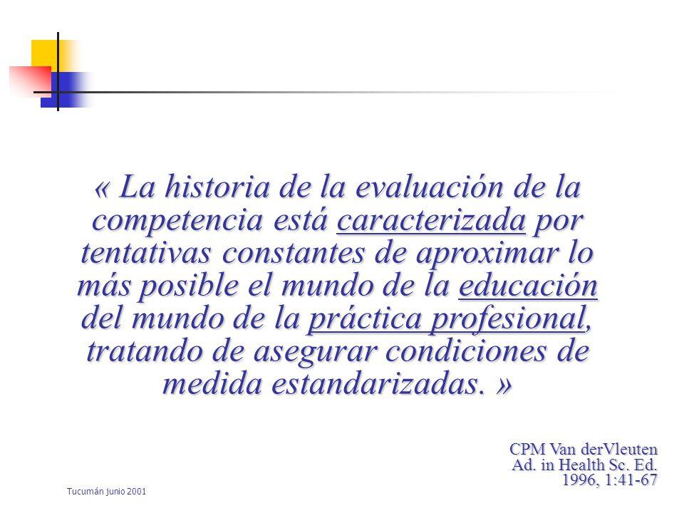 « La historia de la evaluación de la competencia está caracterizada por tentativas constantes de aproximar lo más posible el mundo de la educación del mundo de la práctica profesional, tratando de asegurar condiciones de medida estandarizadas. »