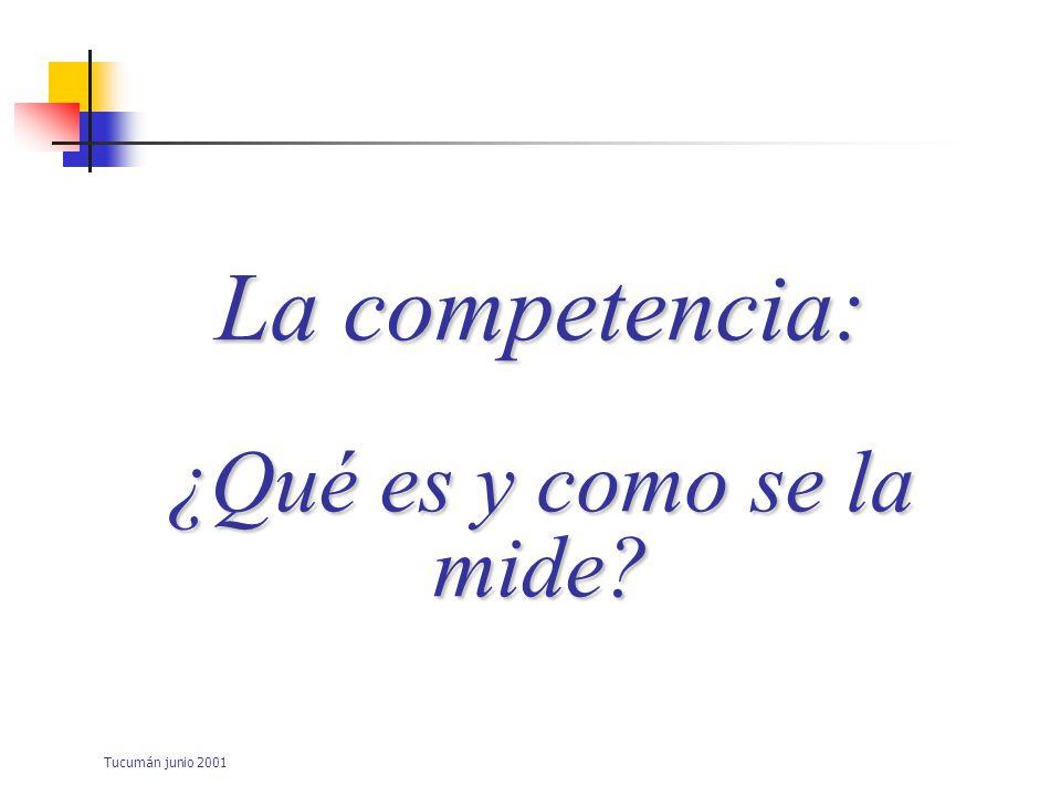 La competencia: ¿Qué es y como se la mide Tucumán junio 2001