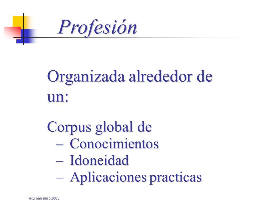 Profesión Organizada alrededor de un: Corpus global de Conocimientos