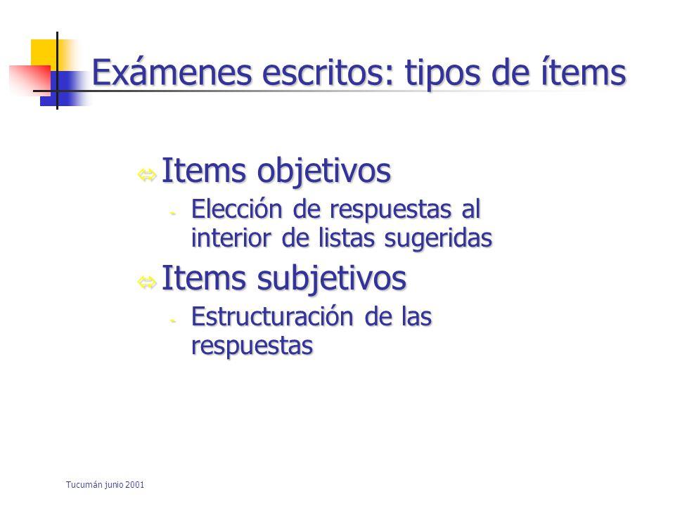 Exámenes escritos: tipos de ítems