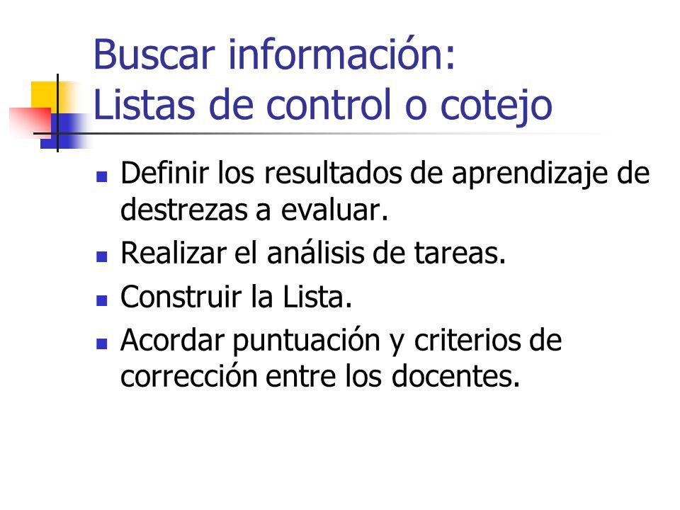 Buscar información: Listas de control o cotejo