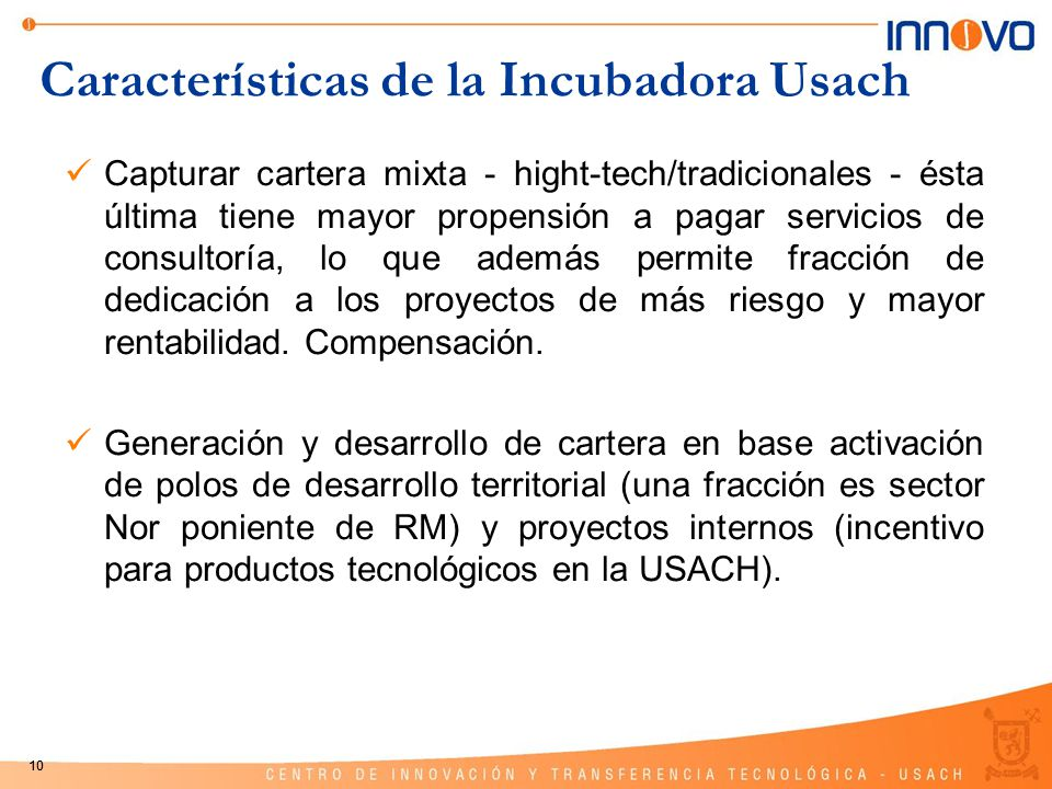 Características de la Incubadora Usach