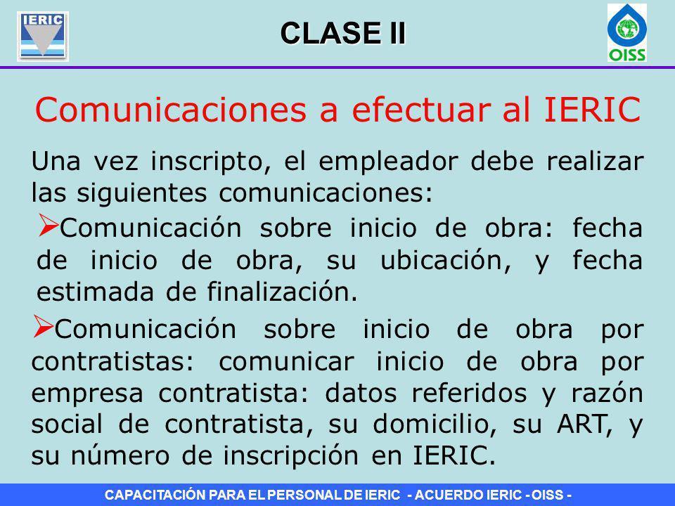 Comunicaciones a efectuar al IERIC