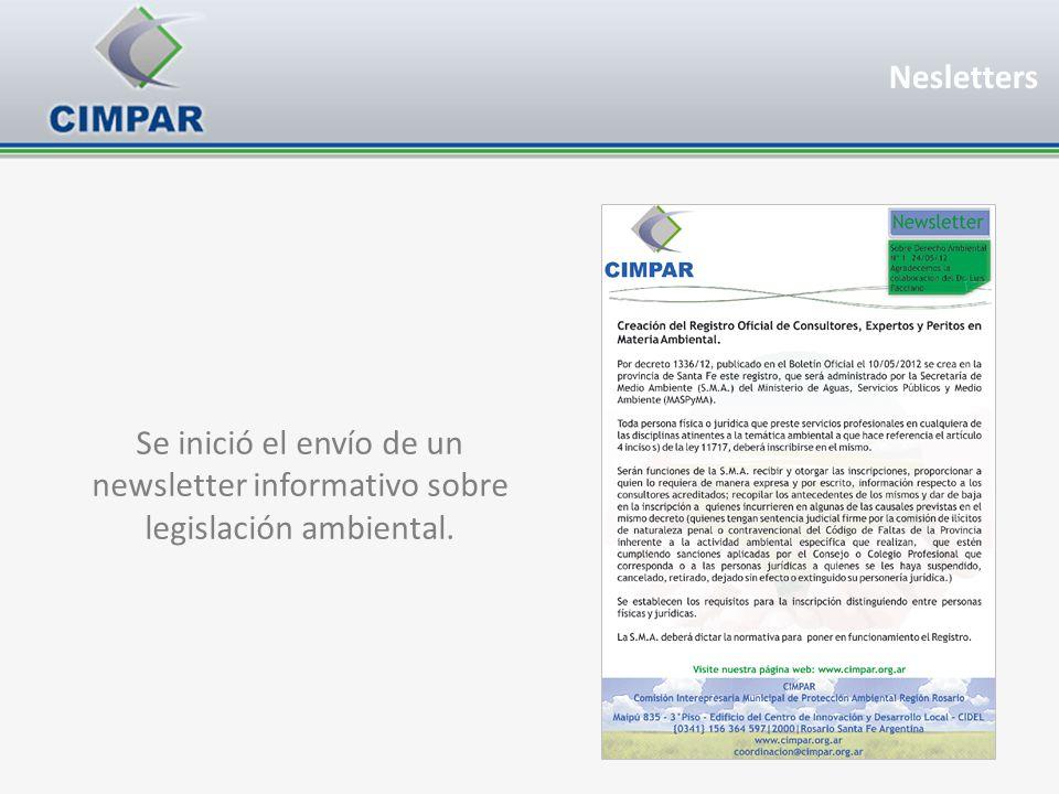 Nesletters Se inició el envío de un newsletter informativo sobre legislación ambiental.