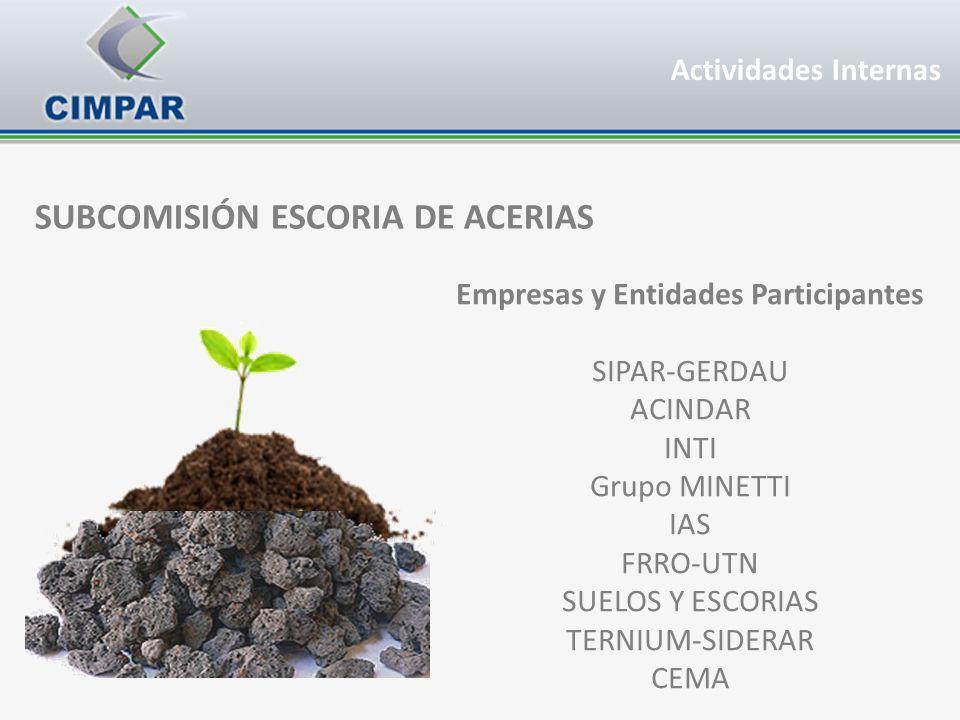 SUBCOMISIÓN ESCORIA DE ACERIAS Empresas y Entidades Participantes