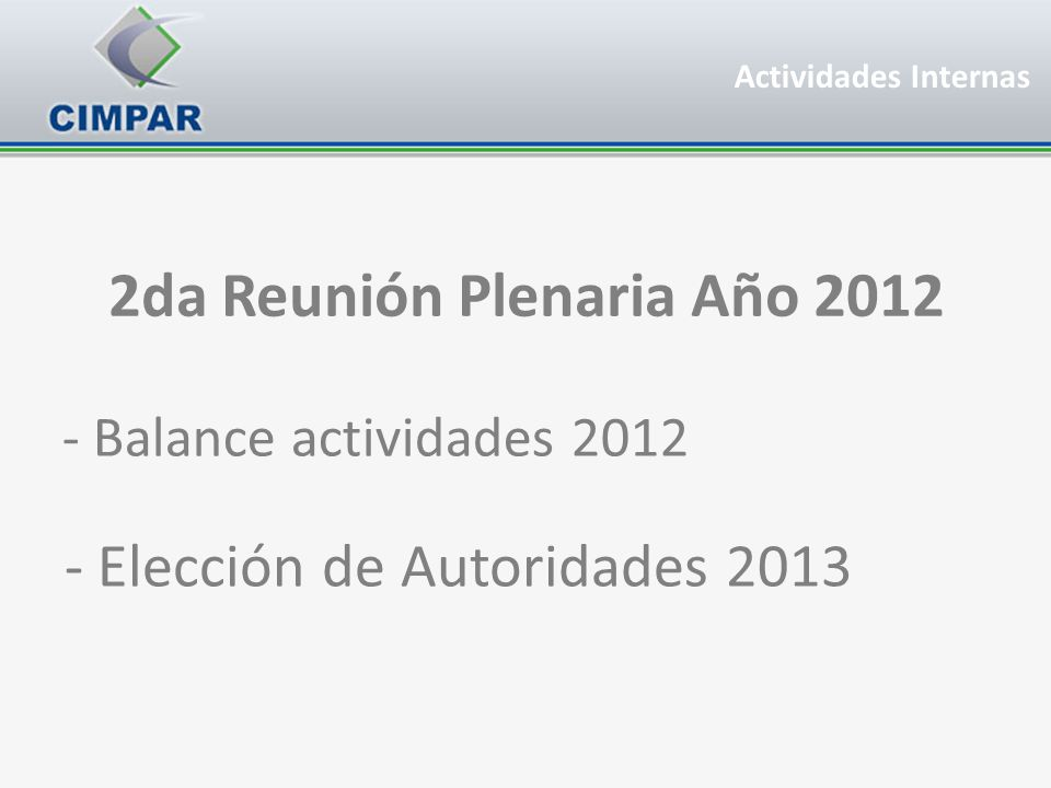 2da Reunión Plenaria Año 2012