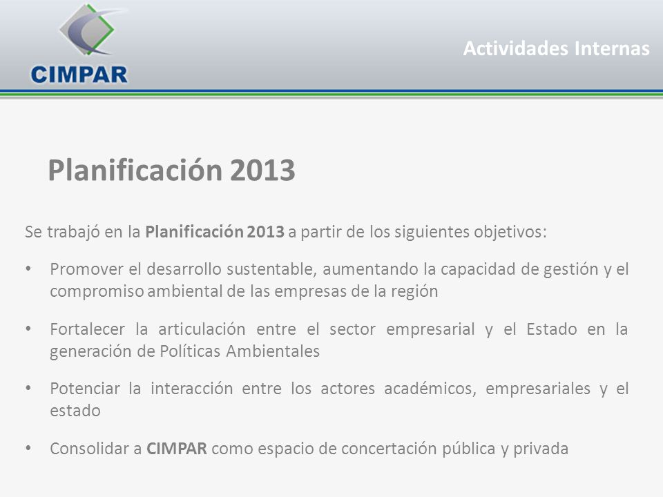 Planificación 2013 Actividades Internas