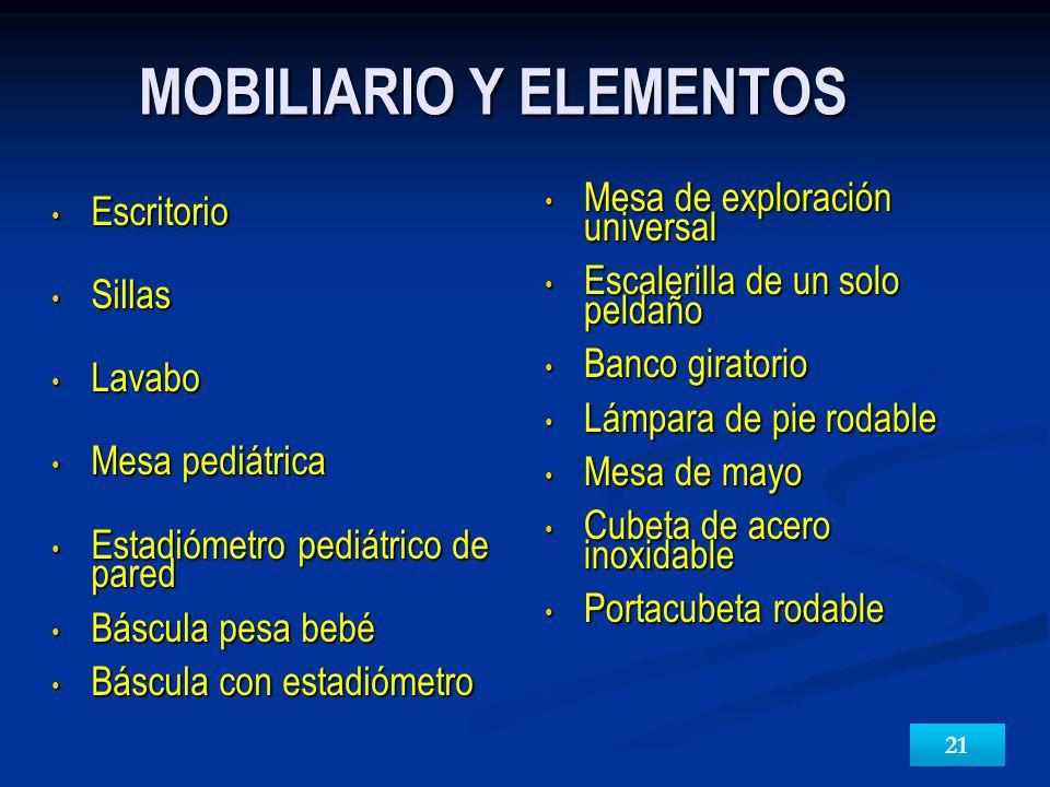MOBILIARIO Y ELEMENTOS